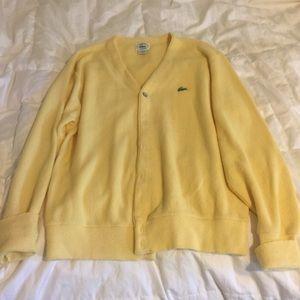 Vintage Izod Cardigan Pastel Canary Yellow